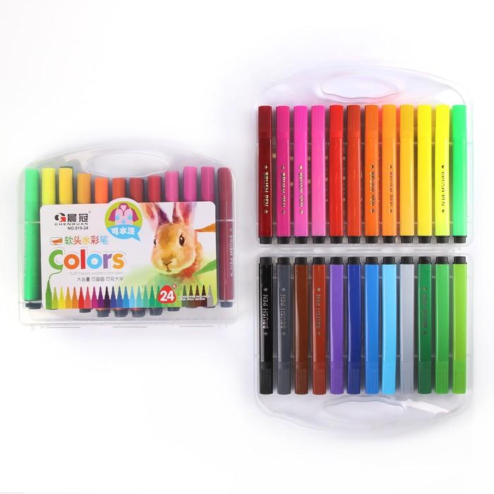 Фломастеры, 24 цвета, в пластиковом пенале, треугольные, толстые, вентилируемый колпачок, МИКС