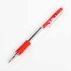 Ручка шариковая, автоматическая, 0.5 мм, корпус прозрачный с резиновым держателем, стержень красный