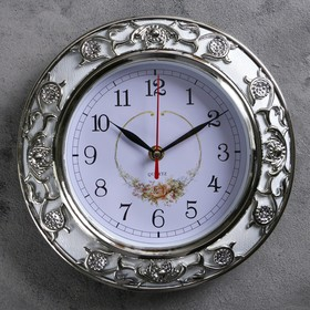 """Часы настенные, серия: Цветы, """"Пионовидные розы"""", серебро, d=25 см"""