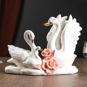 "Сувенир ""Семейство белых лебедей с цветами"" 18х22х12,5 см"