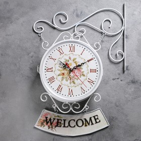 "Часы настенные двойные, серия: Садовые, ""WELCOME"", белые, d=23 см, 47х31 см"