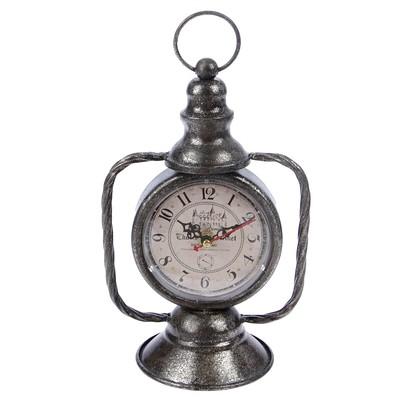 """Часы настольные """"Керосиновая лампа"""", цвет состаренное серебро, 24х18 см"""