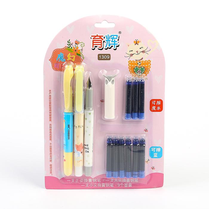 Ручки перьевые 3 штуки + 9 синих картриджей, на блистере, МИКС