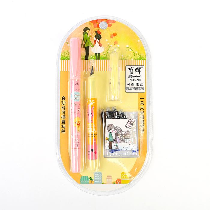 Ручка перьевая, стиратель, 4 шт. картриджей, на блистере, МИКС - фото 366924032