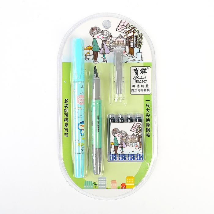 Ручка перьевая, стиратель, 4 шт. картриджей, на блистере, МИКС - фото 366924034