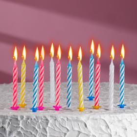 Свечи в торт 'С днём рождения' 6,5*0,5см 12штук Ош