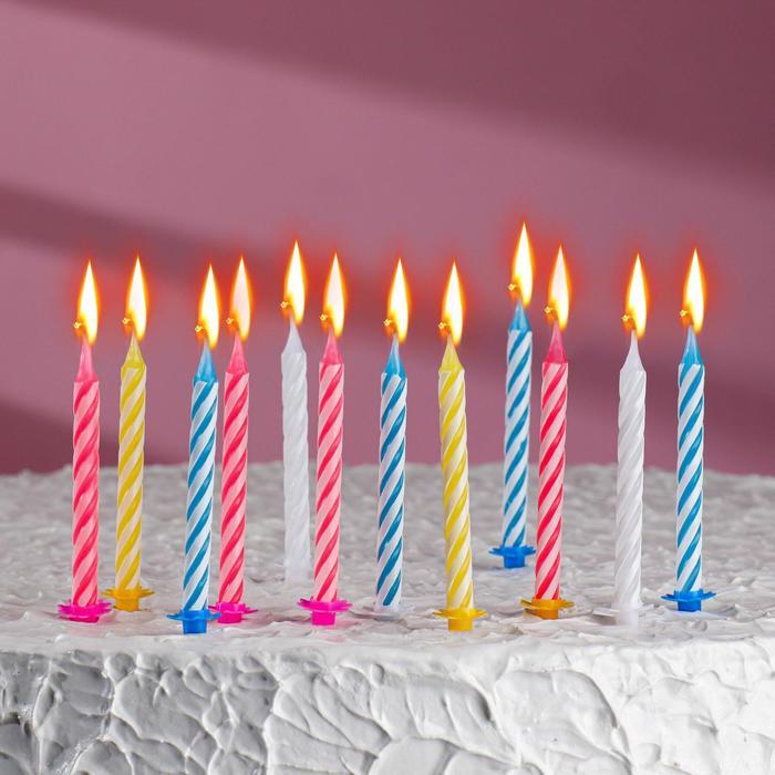 """Свечи в торт """"С днём рождения"""" 6,5*0,5см 12штук - фото 35609124"""