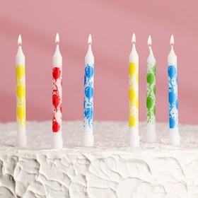 Свечи в торт 'С днём рождения' 7*0,6 см 6 шт Ош