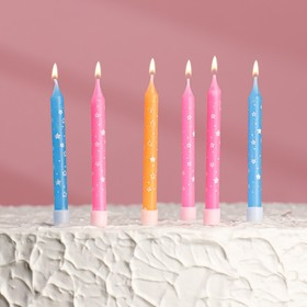 """Свечи в торт """"С днём рождения"""" 7*0,6 см 6 шт"""