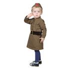 Костюм военного для девочки: платье, пилотка, трикотаж, хлопок 100%, рост 86 см, 1-2 года