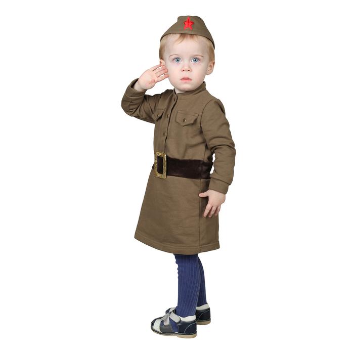 Костюм военного для девочки: платье, пилотка, трикотаж, хлопок 100%, рост 86 см, 1-2 года, цвета МИКС - фото 105521963