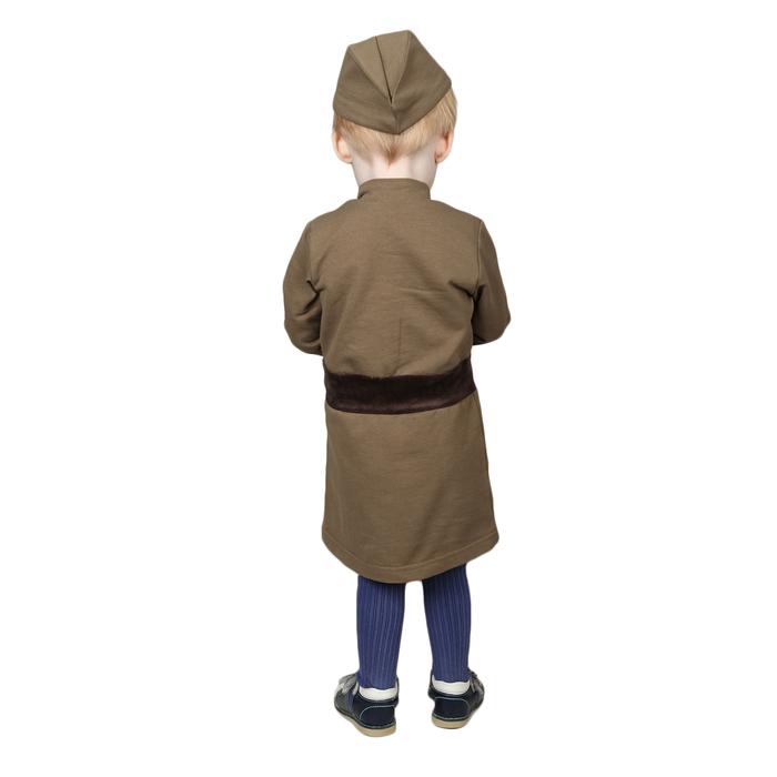 Костюм военного для девочки: платье, пилотка, трикотаж, хлопок 100%, рост 92 см, 1,5-3 года, цвета МИКС