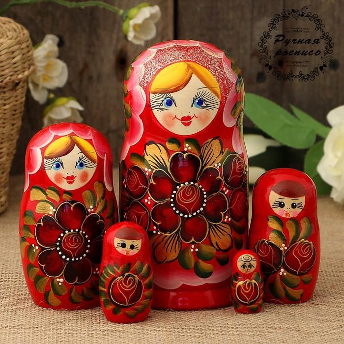 Матрёшка «Золотые цветы», красный платок, 5 кукольная, 15 см, люкс
