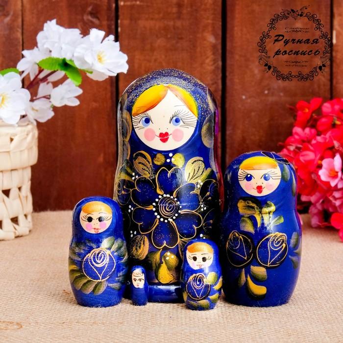 Матрёшка «Золотые цветы», синий платок, 5 кукольная, 15 см, люкс