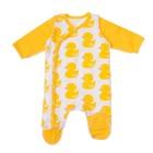 Комбинезон детский длинный пукав, рост 68 см, цвет белый, принт жёлтые утки У-КБ-291