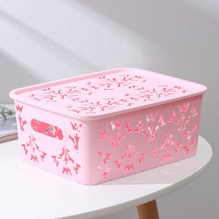 Контейнер для хранения с крышкой «Колокольчики», 25,5×20×11 см, цвет МИКС - фото 241772080