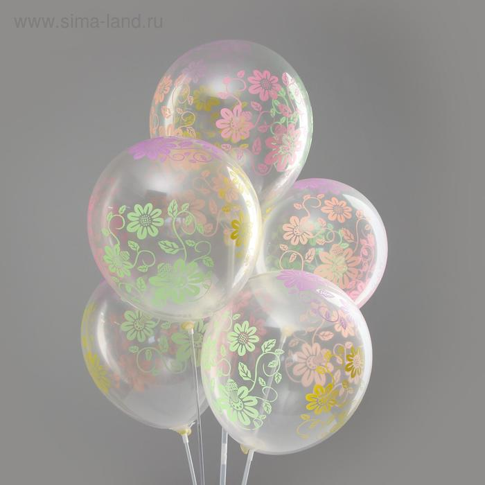 """Balloon latex 12"""" """"Flowers with leaves"""", neon, transparent, set of 5 PCs"""