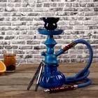 Кальян 25 см, 1 трубка, колба синяя, шахта синяя матовая