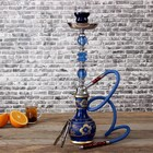 Кальян 1тр 50см колба ваза шар синяя с золотой росписью, шахта синий+хромир 3кр
