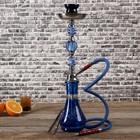 Кальян 1тр 52см колба вытянутая синяя с сереб росписью, шахта голуб+хромир 3кр