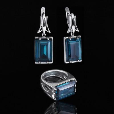 """Гарнитур 2 предмета: серьги, кольцо """"Бонапарт"""", размер 18, цвет голубой в чернёном серебре"""
