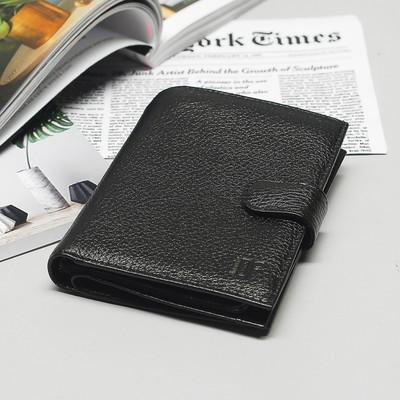 Портмоне 3 в 1, 2 отдела, для карт, для монет, отдел д/автодок+паспорта, флотер, цвет чёрный