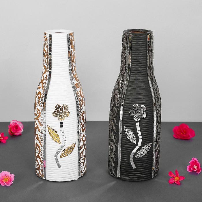 "Ваза керамика ""Эстетика"", d-3.5см, 10х27 см, бутылка, микс"
