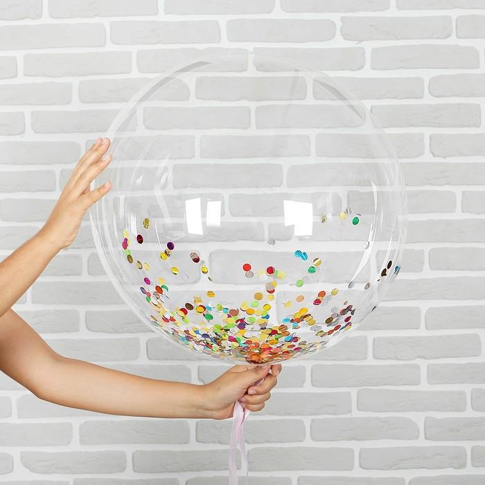 """Шар воздушный 18"""" прозрачный, конфетти, круги МИКС - фото 308466177"""