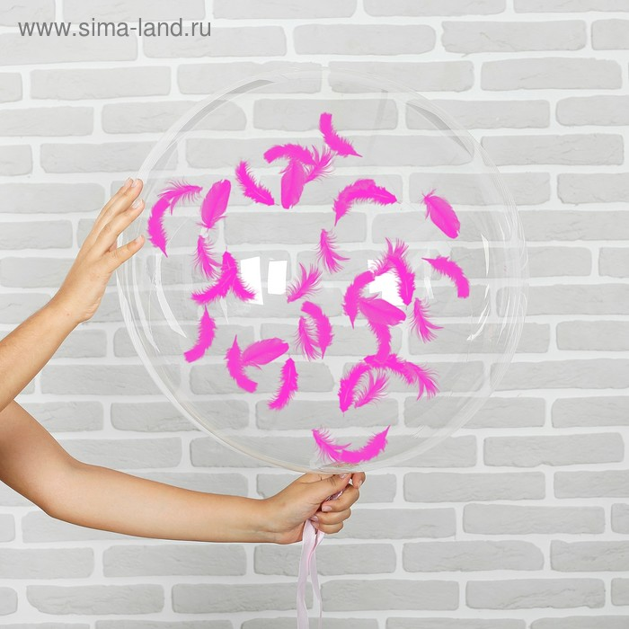 "Set ""transparent Balloon 18"", feather fuchsia"