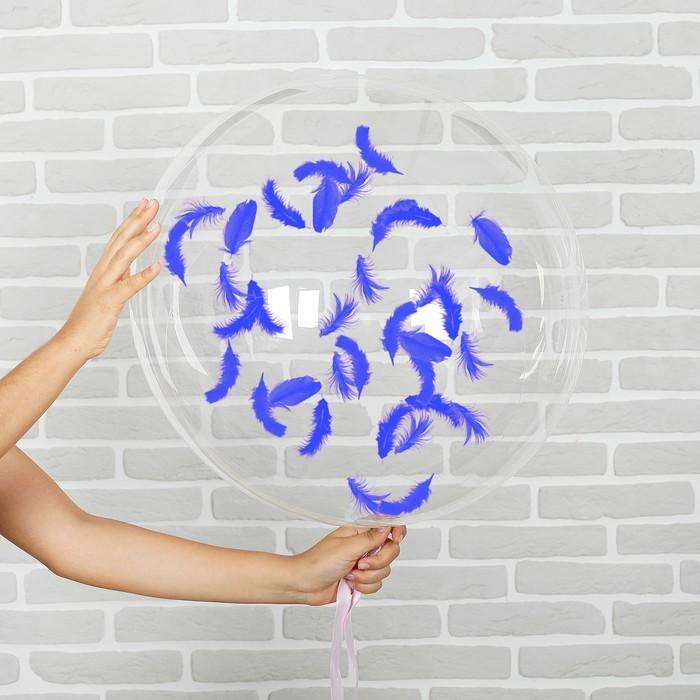"""Шар воздушный 18"""" прозрачный, перья синие - фото 459217"""