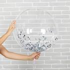 """Шар воздушный 18"""" прозрачный, конфетти мелкие, цвет серебро - фото 308466372"""