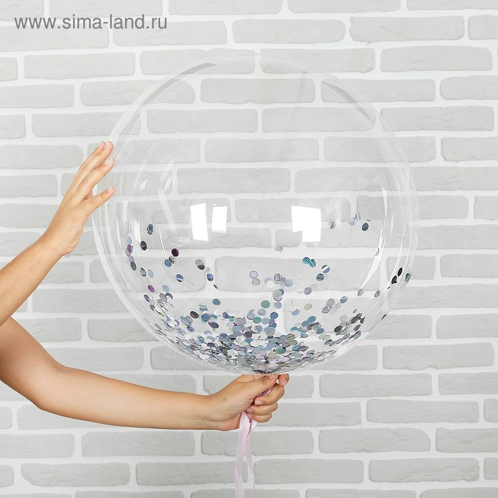 "Set ""transparent Balloon 18"" confetti small silver"