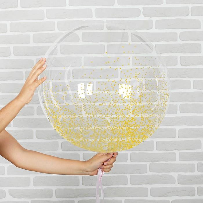 """Шар воздушный 18"""" прозрачный, конфетти мелкие, цвет золотой - фото 308466376"""