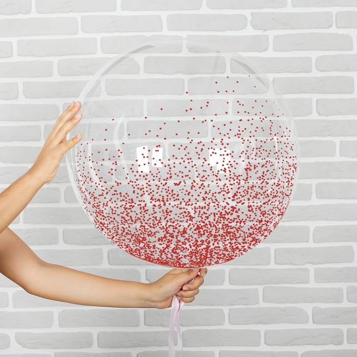 """Шар воздушный 18"""" прозрачный, конфетти мелкие, цвет красный - фото 308466380"""