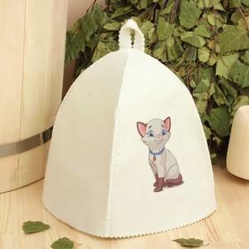 Шапка для бани и сауны детская с термопечатью 'Котёнок' Ош