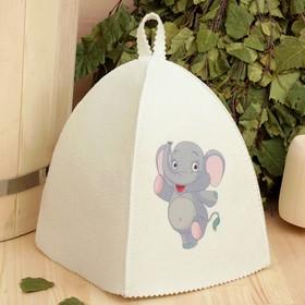 Банная шапка с детской термопечатью 'Слонёнок' Ош