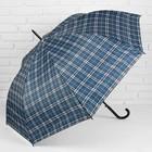 Зонт полуавтоматический «Клетка», 8 спиц, R = 58 см, цвет серый/синий