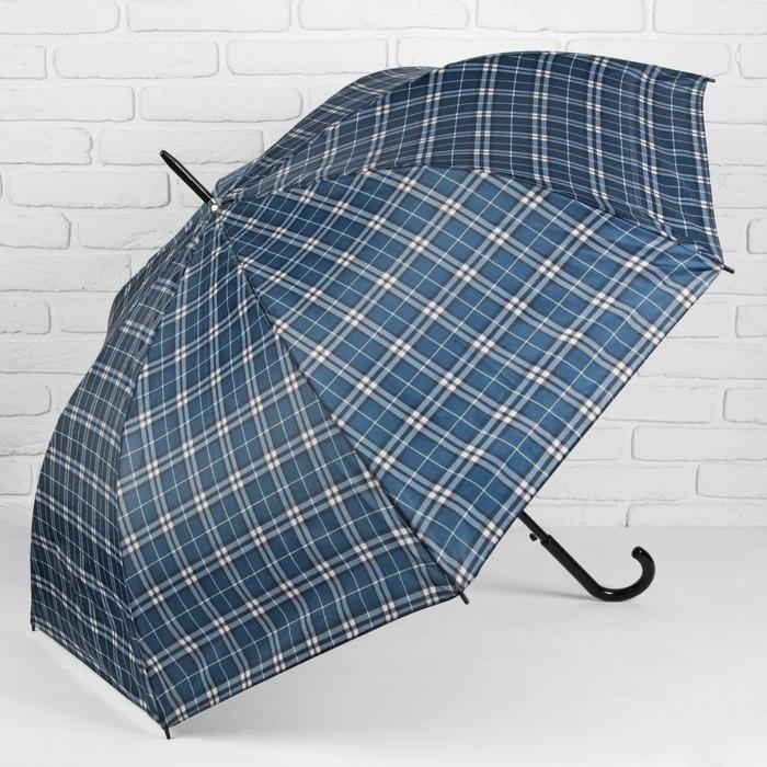 """Зонт-трость """"Клетка"""", полуавтоматический, R=58см, цвет серый/синий"""
