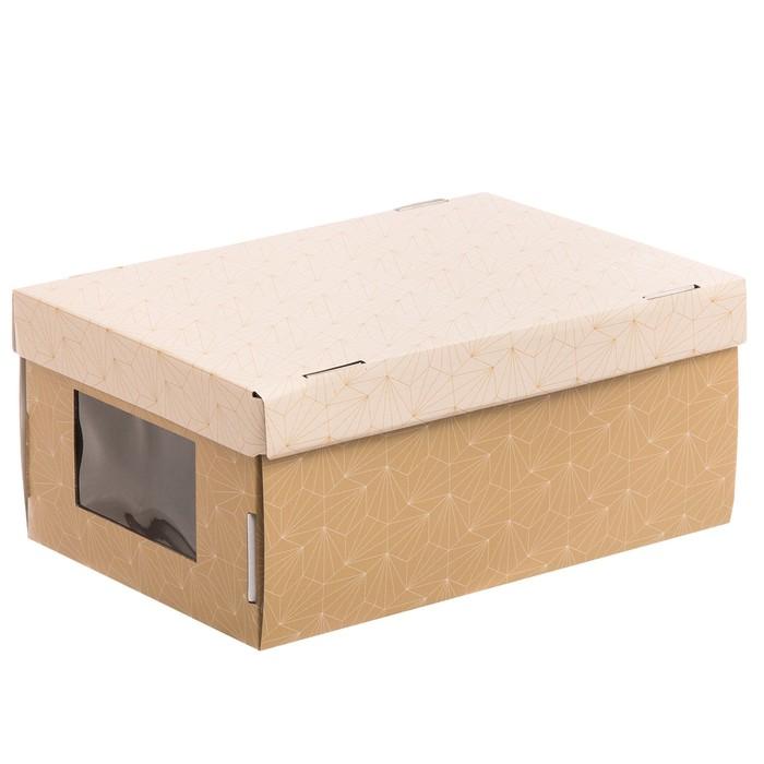 Складная коробка с PVC окошком «Воздушный узор», 34 × 23 × 15 см - фото 139837594