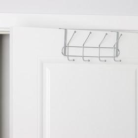 Вешалка надверная на 4 двойных крючка «Блеск», 30×10×16 см, цвет хром - фото 4641473