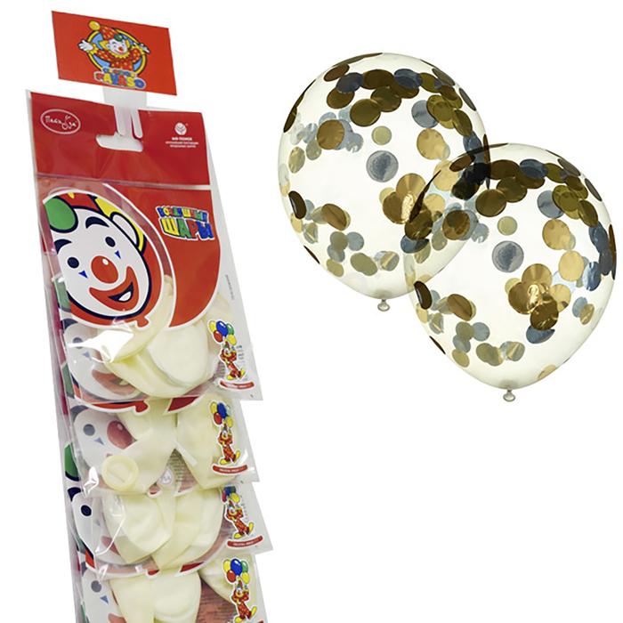 """Шар латексный на стрип-ленте 12"""" «Прозрачный с конфетти», золотые кружочки из фольги, набор 2 шт. - фото 308469268"""