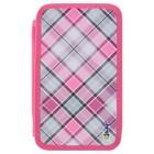 Пенал «Клетка розовая», для девочки, 2 секции, 110 х 190 мм, ткань, ПКТ11-20