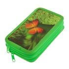 Пенал «Оранжевая бабочка», для девочки, 2 секции, 110 х 190 мм, ламинированный картон, выб.лак, ПКК11-9
