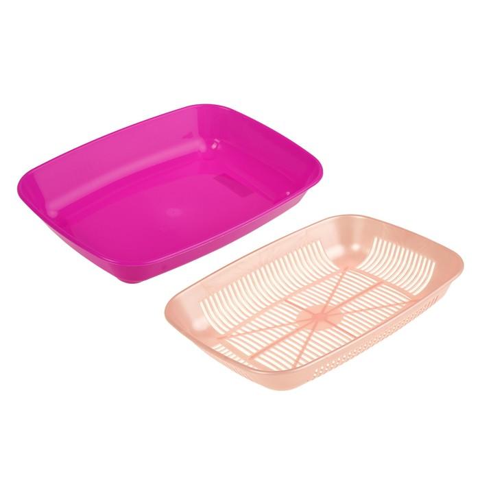 Туалет перламутровый округлый с сеткой 33,5 х 25 х 6 см, розовый-фуксия