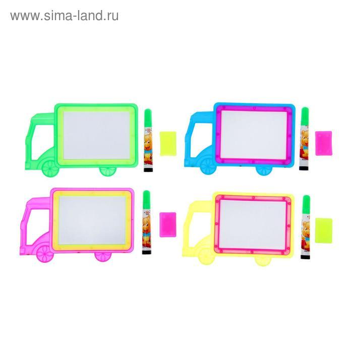 """Доска для рисования """"Машинка"""" + маркер, стиралка, цвета МИКС"""