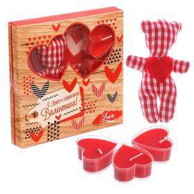 """Набор игрушка и 3 свечи """"С Днем Святого Валентина"""""""