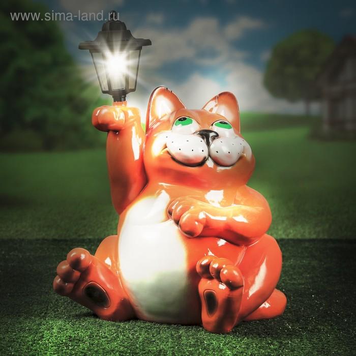 """Садовая фигура """"Кот с фонарём"""", 45 см, полистоун"""