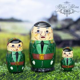 Матрёшка 3-х кукольная «Военный», 9 см