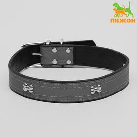 Wide collar with reflective strip and bones, 66 x 3,5 cm, black