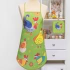 """Кухонный набор """"Петушки"""" (фартук,прихватка) рис 7-17 , печать , поролон, 100% пэ, 200 г/м2"""